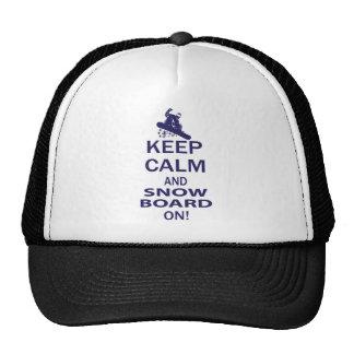 KEEP-CALM-SNOW-BOARD ON TRUCKER HAT