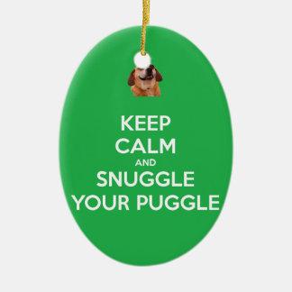 Keep Calm & Snuggle Your Puggle ORNAMENT - Green