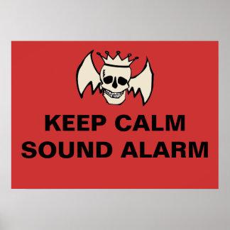 Keep Calm Sound Alarm Skull Poster