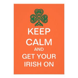 KEEP CALM St. Patrick's Day Party Invite (Orange)
