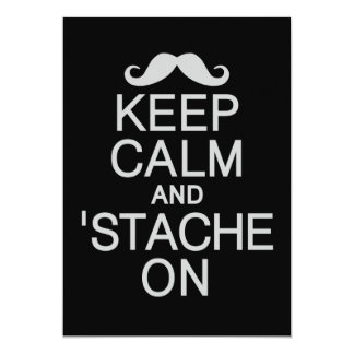 Keep Calm & 'Stache On invite / card, customize