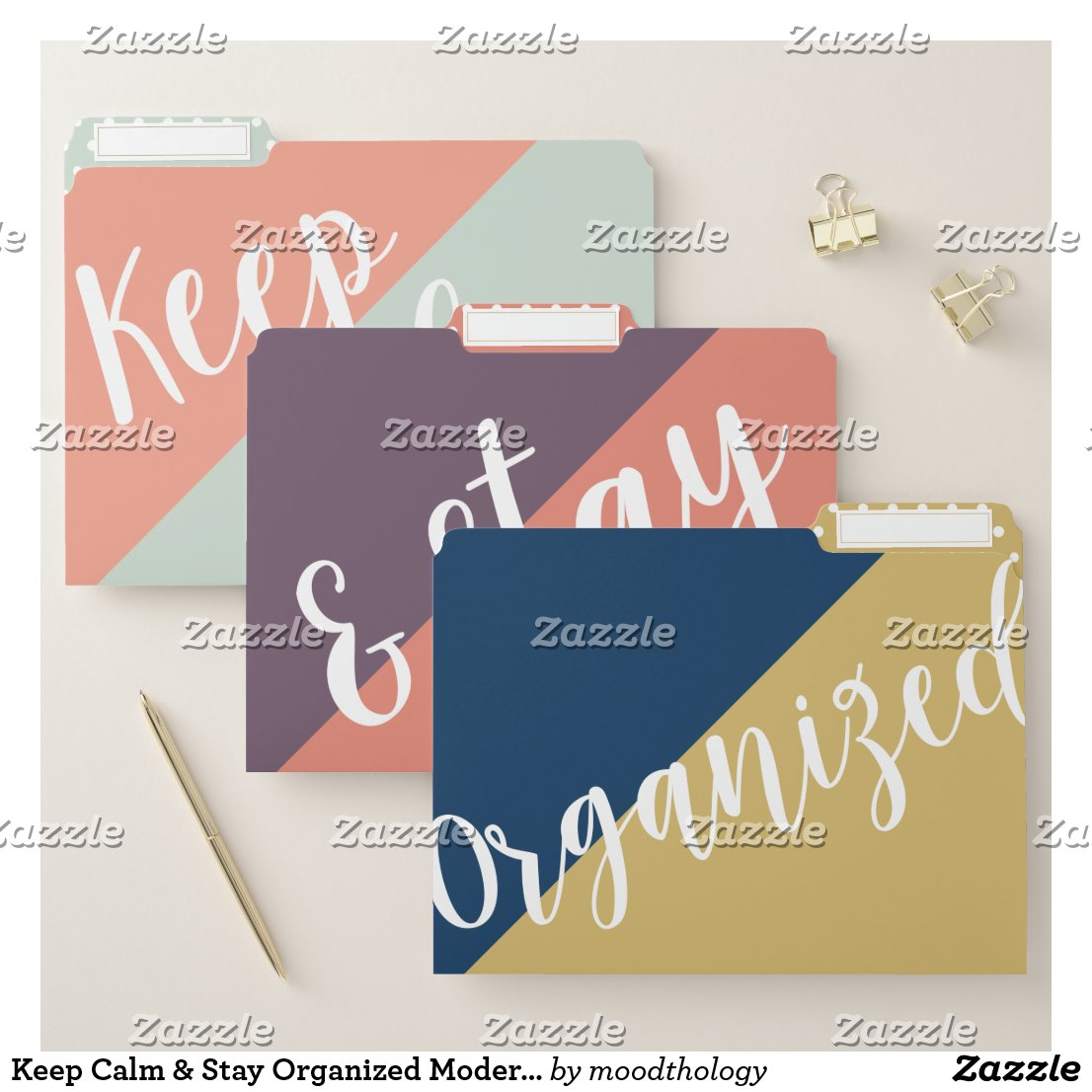 Keep Calm & Stay Organized Modern Trendy Abstract File Folder