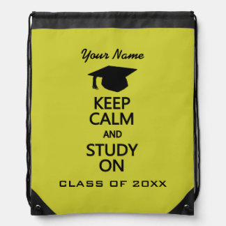 Keep Calm & Study On custom color daypack Drawstring Backpack