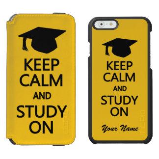 Keep Calm & Study On custom color wallet cases