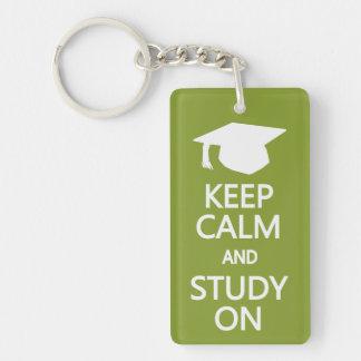 Keep Calm & Study On custom key chain