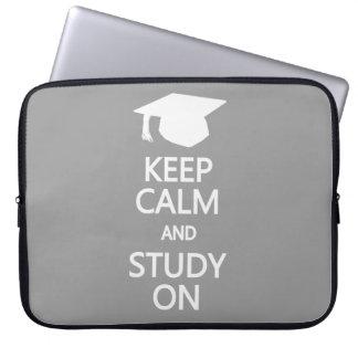 Keep Calm & Study On custom laptop sleeve