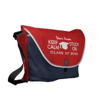 Keep Calm & Study On custom messenger bag