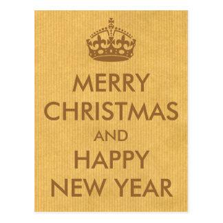 Keep Calm Style Christmas Greeting Kraft Paper Postcards