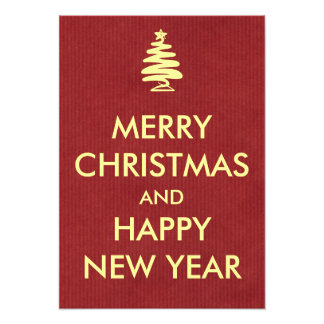 Keep Calm Style Christmas Greeting Red Kraft Paper Art Photo