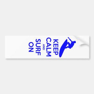 Keep Calm & Surf On Bumper Sticker