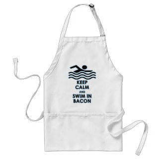 Keep Calm Swim in Bacon Adult Apron