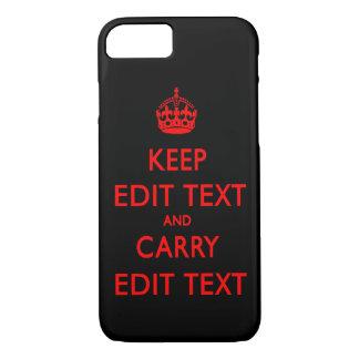 KEEP CALM TEMPLATE CUSTOMIZE POPULAR BLACK iPhone 8/7 CASE