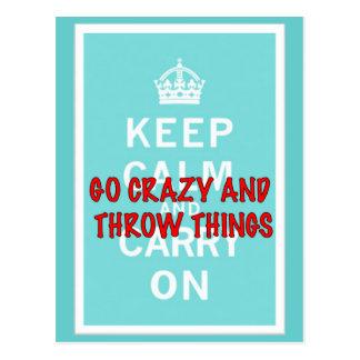 Keep Calm, Throw Things Postcard