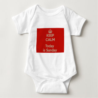 Keep calm today s Sunday - He stay cool, is Sunday Baby Bodysuit
