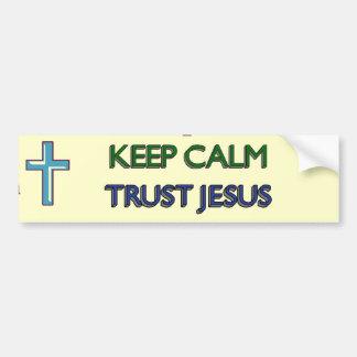 Keep Calm Trust Jesus Car Bumper Sticker