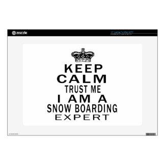 "Keep calm trust me I'm a Snow Boarding expert 15"" Laptop Decal"