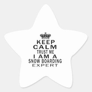 Keep calm trust me I'm a Snow Boarding expert Star Stickers