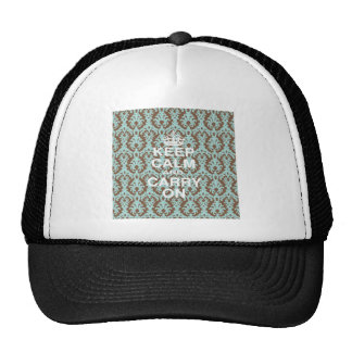Keep Calm Turquoise and Chocolate Brown Trucker Hats