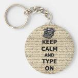 Keep calm & type on basic round button keychain
