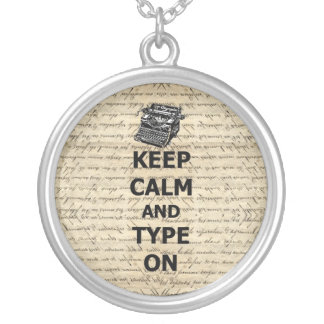 Keep calm & type on silver plated necklace