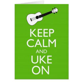 Keep Calm Uke On (Shamrock) Card