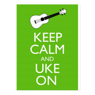 Keep Calm Uke On (Shamrock) Postcard
