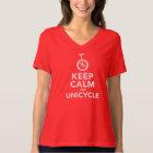 Keep Calm & Unicycle - Ladies V-Neck T-Shirt