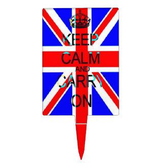 Keep Calm union jack cake pick