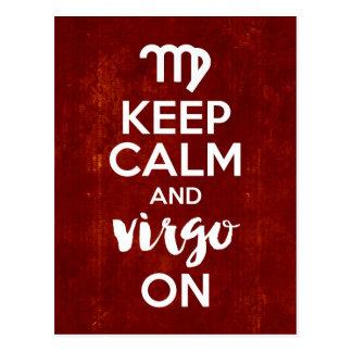 Keep Calm Virgo On Birthday Astrology Postcard