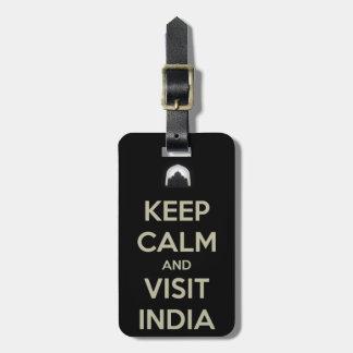 keep calm visit india bag tag