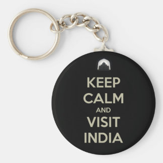 keep calm visit india basic round button keychain