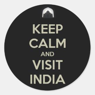 keep calm visit india classic round sticker