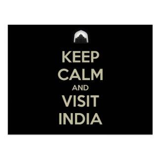 keep calm visit india postcard