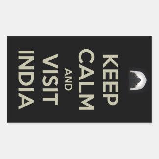 keep calm visit india rectangular sticker