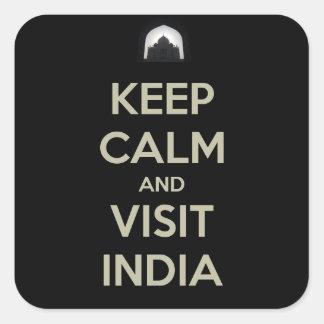 keep calm visit india square sticker
