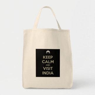 keep calm visit india tote bag