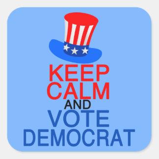 Keep Calm Vote Democrat Square Sticker