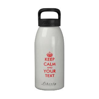Keep calm water bottles | Customizable template.