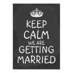 Keep Calm We Are Getting Married Chalkboard 5x7 Paper Invitation Card