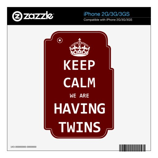 Keep Calm we are having twins iPhone 2G Decal