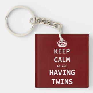 Keep Calm we are having twins Keychain