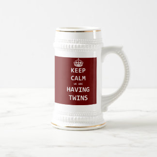 Keep Calm we are having twins 18 Oz Beer Stein