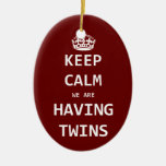 Keep Calm we are having twins Double-Sided Oval Ceramic Christmas Ornament