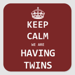 Keep Calm we are having twins Square Sticker