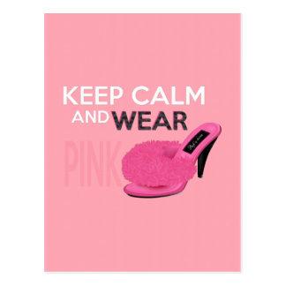 Keep Calm Wear Pink Postcard