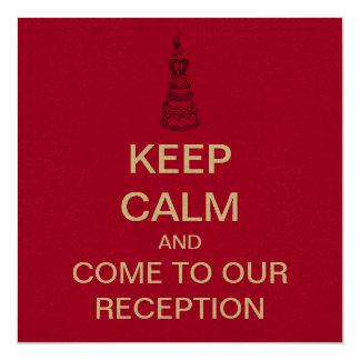 KEEP CALM Wedding Reception Invitation (recycled)