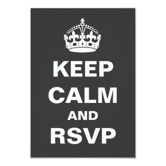 "Keep Calm Wedding RSVP 3.5"" X 5"" Invitation Card"