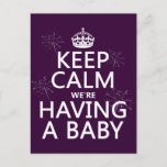 Keep Calm We're Having A Baby (in any color) Announcement Postcard