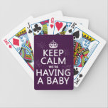 "Keep Calm We&#39;re Having A Baby (in any color) Bicycle Playing Cards<br><div class=""desc"">This reads Keep Calm we&#39;re Having a Baby, in the style of the classic keep calm poster. It&#39;s decorated with sparklers on the letters, and there is no better way to announce the big news. Great as gifts for expecting parents to be as well. You can change the background colour...</div>"