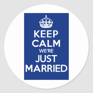 KEEP CALM we're JUST MARRIED (Blue) Sticker